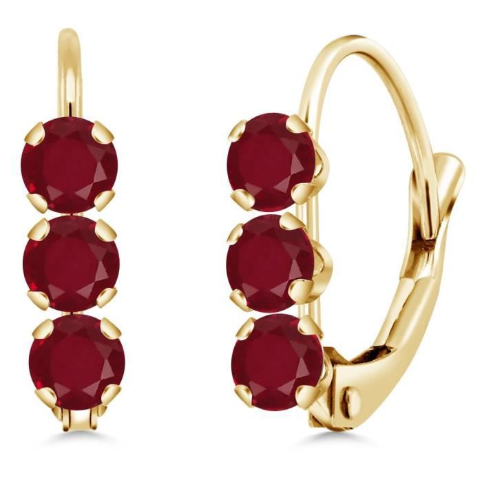 Womens 14k Yellow Gold 0.84 Ct Round Red Ruby Leverback Earrings NCH1L
