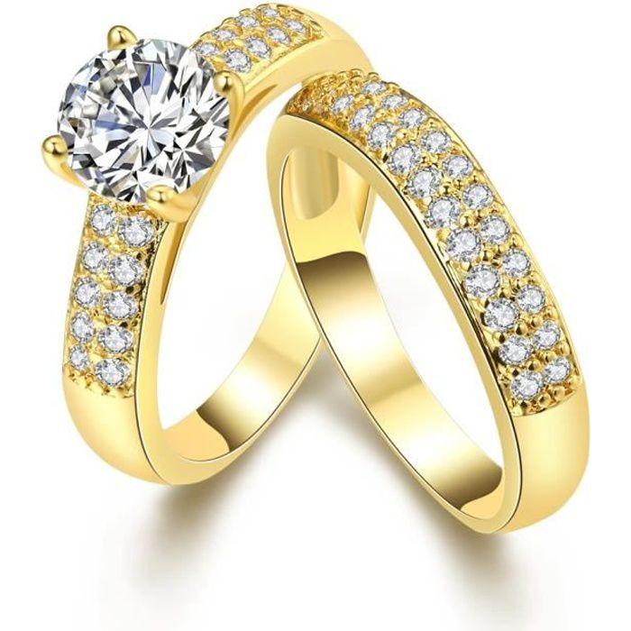 2 pièces bague de mariage pour femmes en or jaune 18k plaqué or marron  taille 8,9