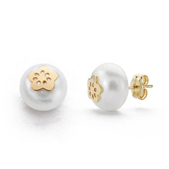 Boucled'oreille 18k 9mm perle dor. 5 pétales bouton cultivé [9161]