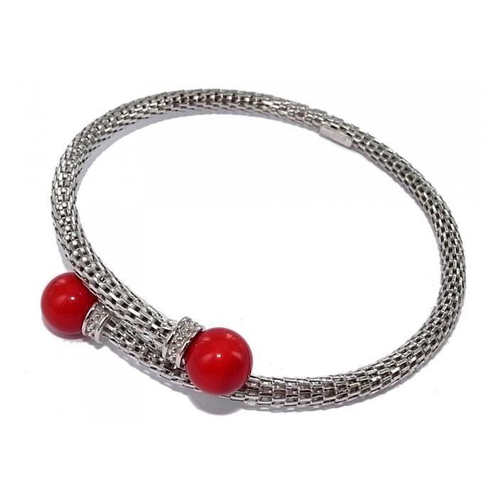 Bracelet en argent rhodié :ouvrant: avec perles imitation rouges