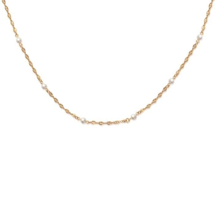 MARY JANE - Collier plaqué Or - Long:45cm - Larg:5mm - Femme - Boule - Grain de café - Perle