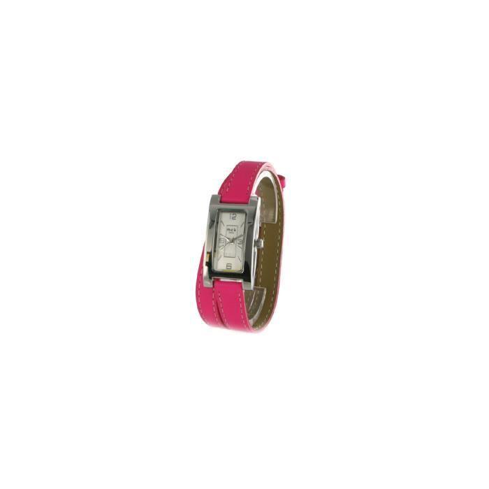 Fushia Cuir Mck Paris 8cm Double Bracelet Montre 1 Rose Achat Y7fg6by