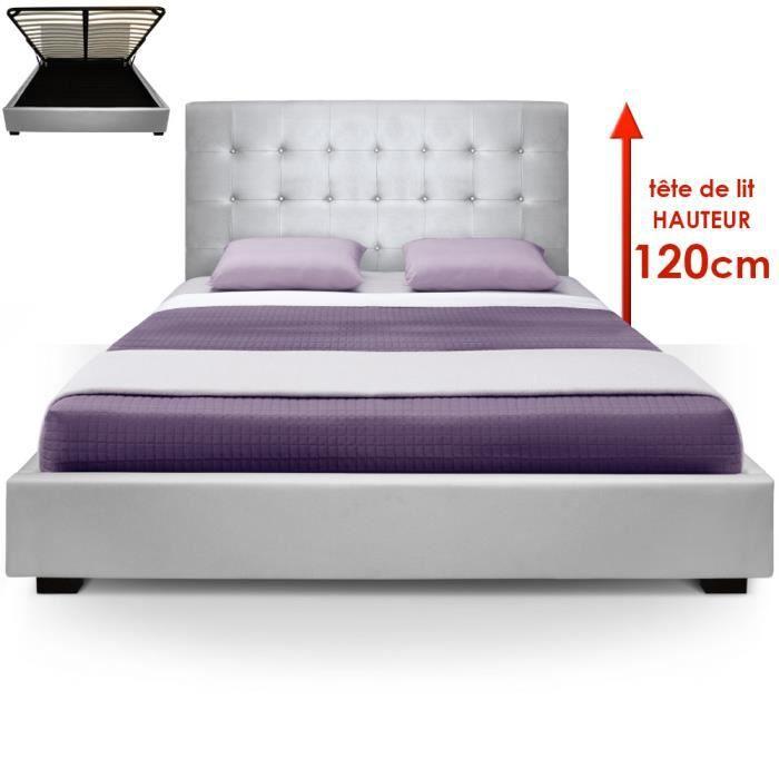 lit coffre trevene sommier 180cm argent achat vente structure de lit cdiscount. Black Bedroom Furniture Sets. Home Design Ideas