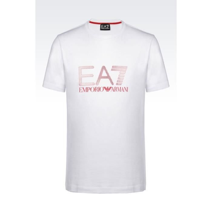 64e47c30941 T-Shirt EA7 Emporio Armani homme manche courte Blanc - Achat   Vente ...