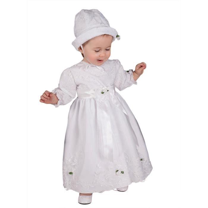 Robe de baptême manche longue avec bonnet Blanc - Achat   Vente robe ... 3c8d497459b