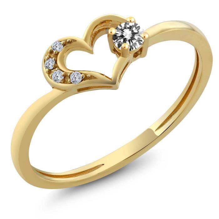 Bague En Or Jaune 10k en coeur - Diamants - 0.09 ct