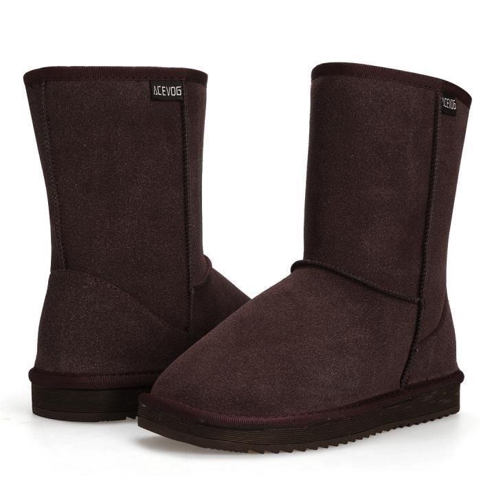 Casual chaussures de neige fausse plat chaud femmes hiver fourrure Bottes bottines T7wqnpz0cx