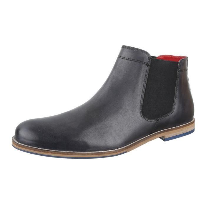 homme botte chaussure cuir bottine Chelsea gris foncé