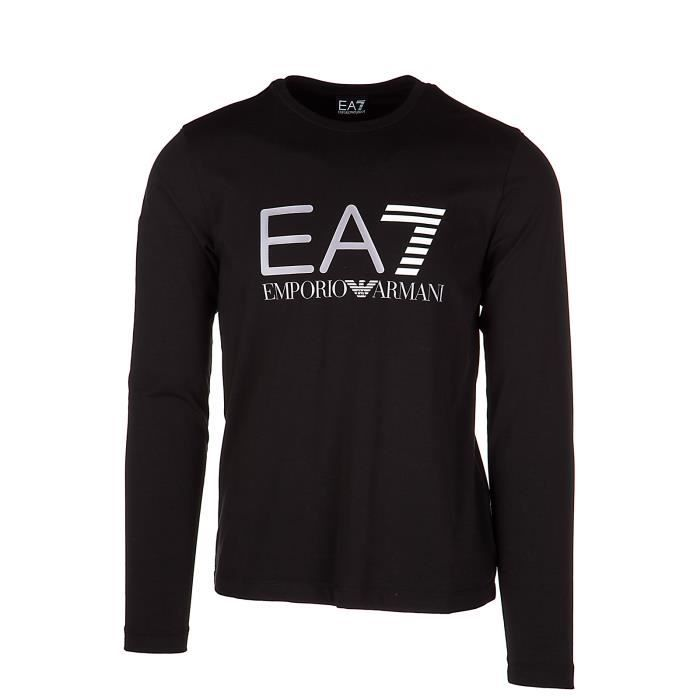 T-shirt manches longues ras du cou homme Emporio Armani EA7 Noir ... eca1c631aa98