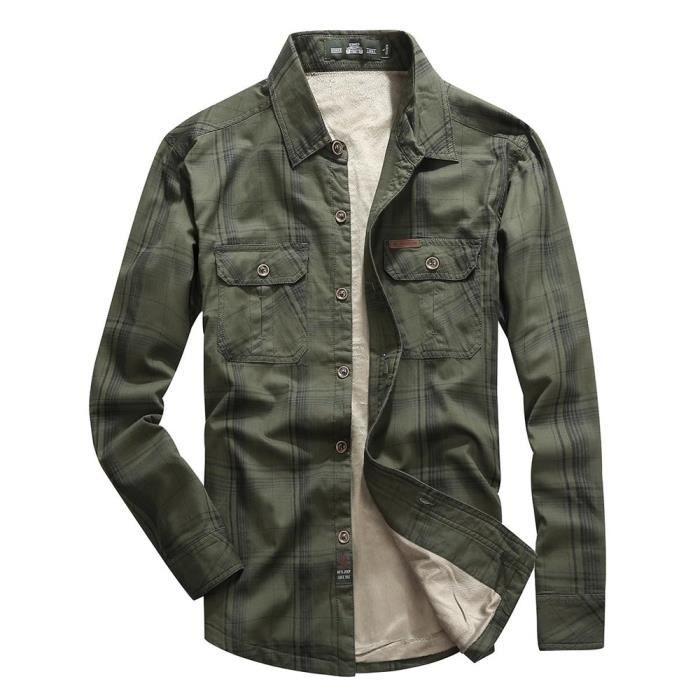 chemise d 39 hiver homme en molleton manches longues casual chemise pais chaude vert militaire. Black Bedroom Furniture Sets. Home Design Ideas