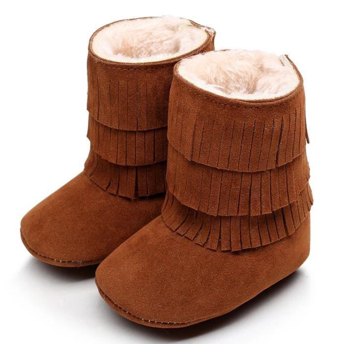 Garder chaud double-deck glands Soft neige bottes Soft berceau chaussures tout-petits Botts marron
