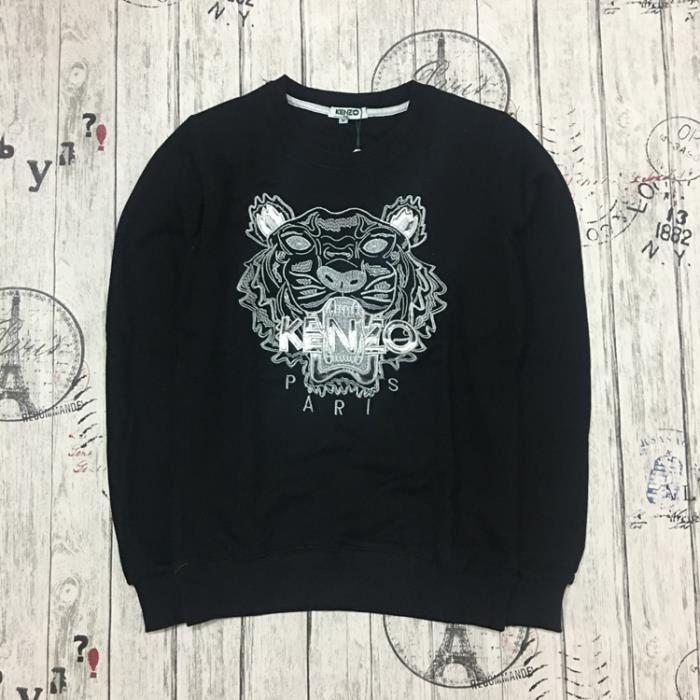 Sweat-shirt Pull Oversize Femme Homme en 100% Coton à Motif Kenzo Tigre  Manche Longue Col Rond Style Noir Argent c1951c77d0c