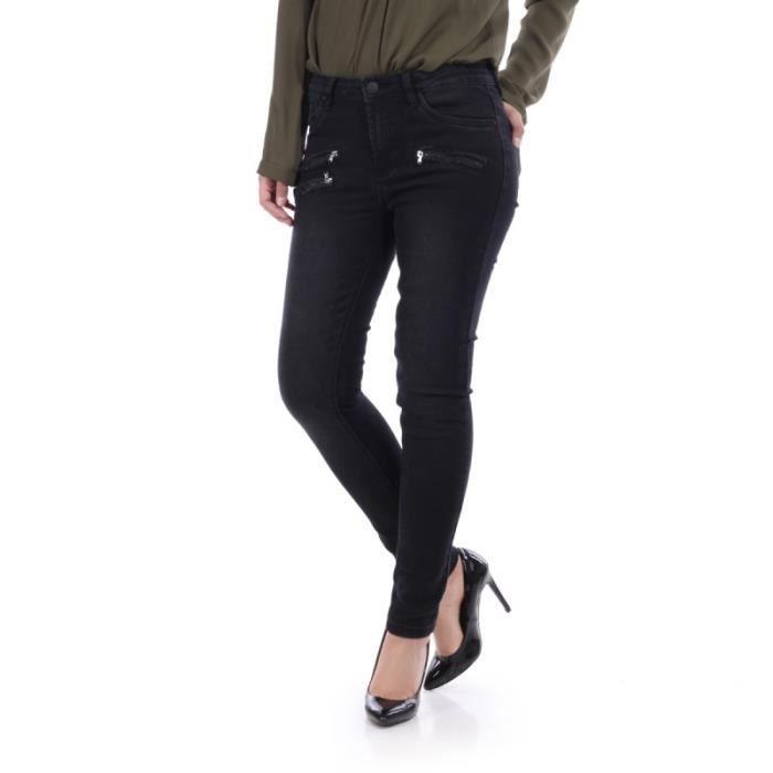 ebc7781d56bb Jeans taille haute détail zippé noir-34 Noir Noir - Achat   Vente ...