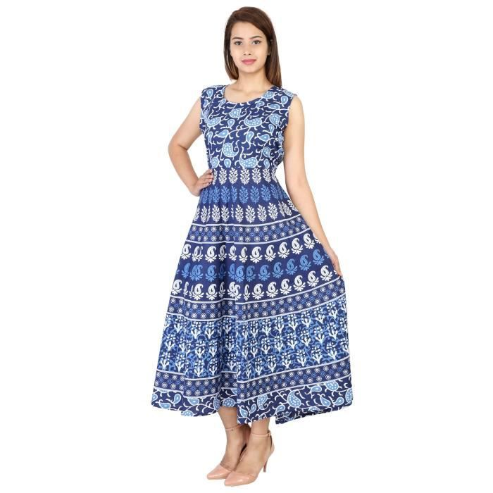Womens 100% Cotton Indigo Blue Block Style Printed Long Maxi Dress For1OMFNR Taille-34