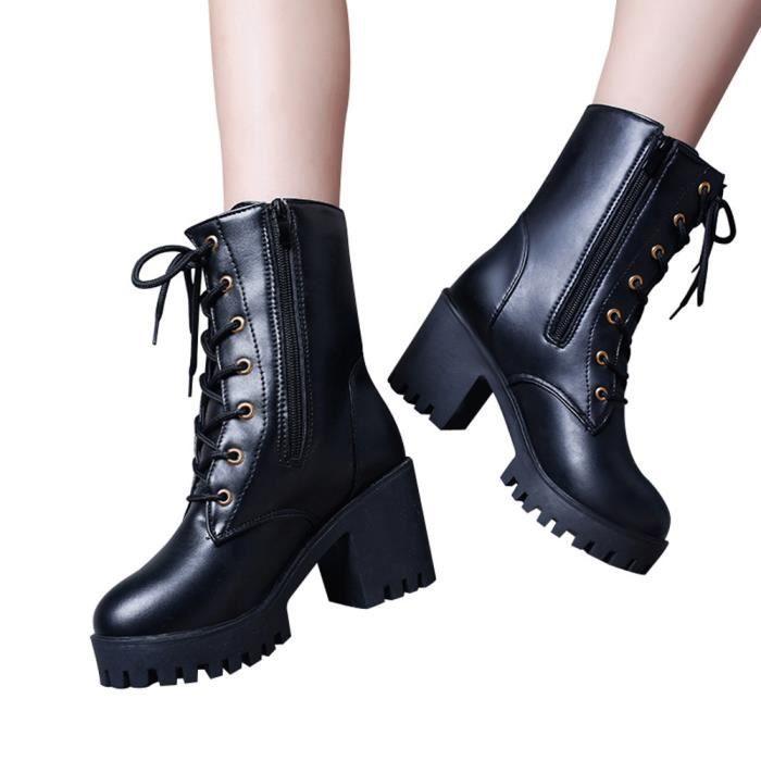 Martin Moyen Cuir Lhb939 Chaussures Wedges Oxford Femme Bottes En Mode Cheville qwP6zI