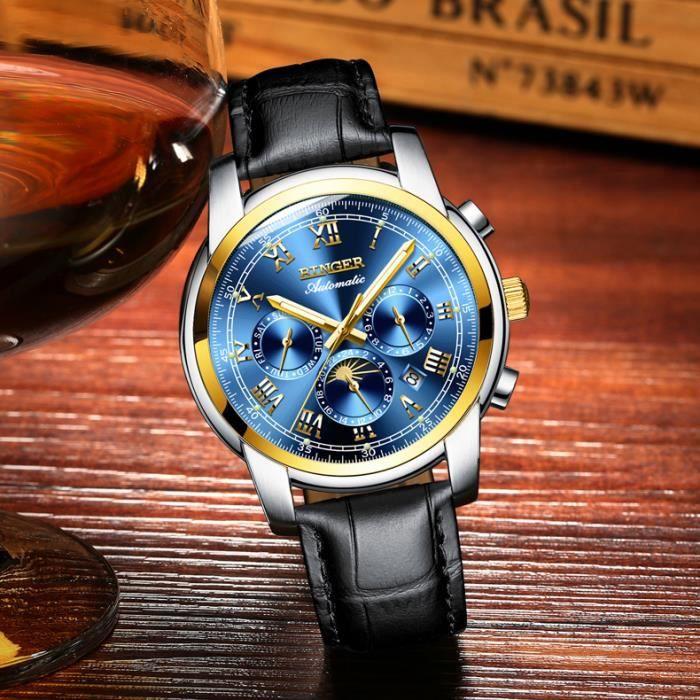 901b0129403e3 Montre Homme Bracelet Cuir Business Classe Étanche Copie Marque Luxe Date  Phosphorescente Phase de Lune