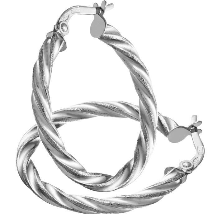 Revoni - Boucles doreilles anneaux torsadés en or blanc 9 carats et diamants taillés, diamètre 20 mm et tube 0,2 cm
