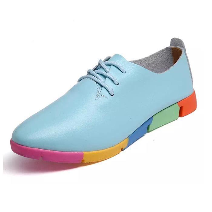 SHELOVEIT® Sneaker Femmes Cuir Lacer Appartement Doux Bas Coloré