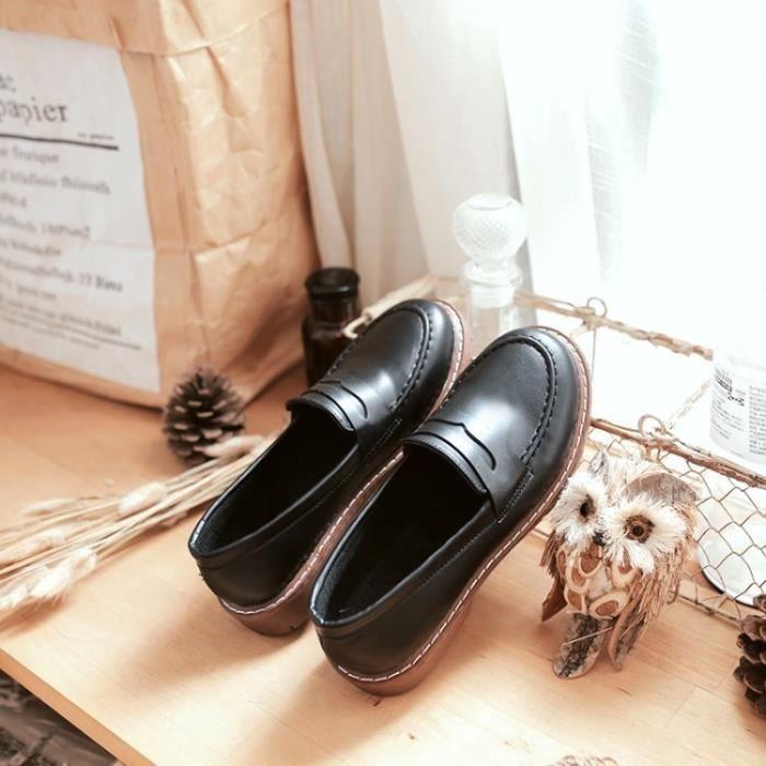 dames en cuir design chaussures simples Oxford femmes & # 39; s britanniques femmes profil bas & # 39; s chaussures,noir,37
