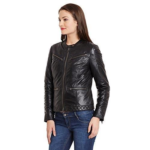 Veste motard en cuir noir des femmes R50LQ Taille-34