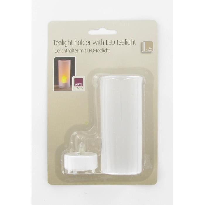 Photophore avec bougie LED 10 cm blanc incluse pile CR2032BOUGEOIR - CHANDELIER