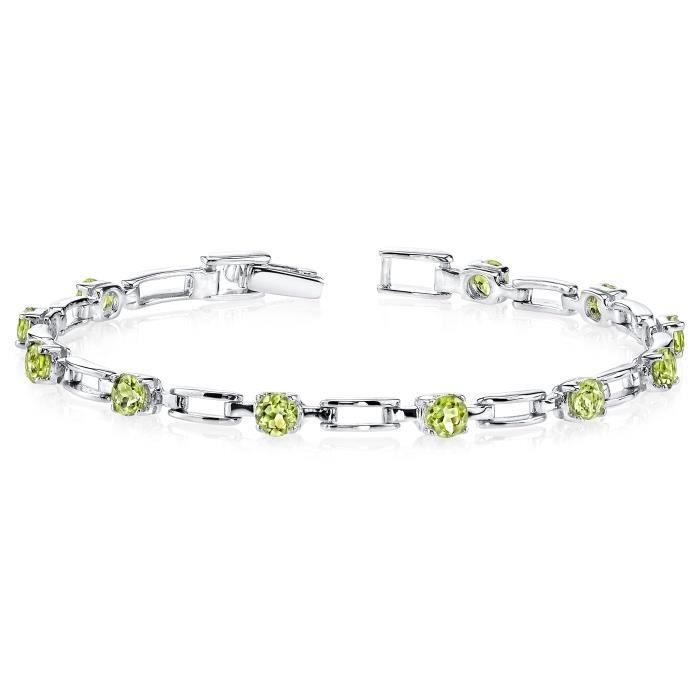 Bracelet femme péridot en argent sterling 3.00 Carats Chic Design E2GQT