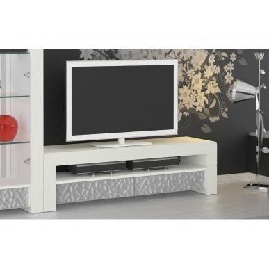 meuble tv meuble tl vittro 160x47cm coloris blanc patin a - Meuble Tv Blanc Patine