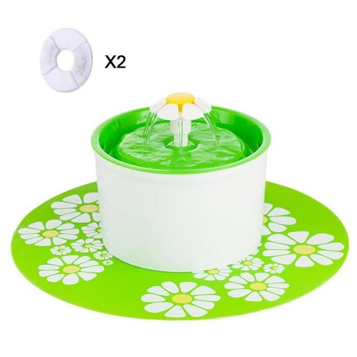 Fontaine À Fleur Pour Chat Automatic Electric Flower 1.6 L Pet Water Fountain Drinking Bowl Vert