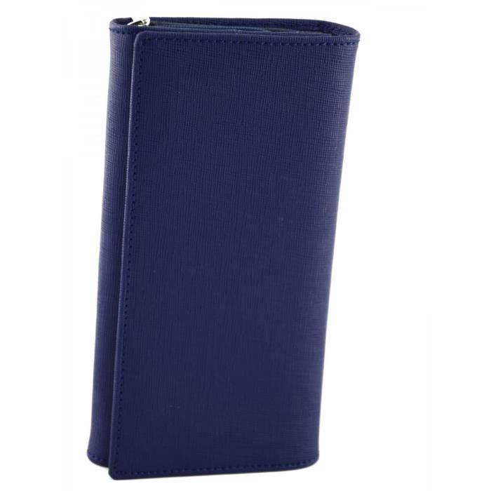 012e98a545f8 ... Bleue - Maroquinerie Fait En Italie - Accessoires. PORTE MONNAIE Porte-monnaie  En Cuir Saffiano Pour Femme Couleur