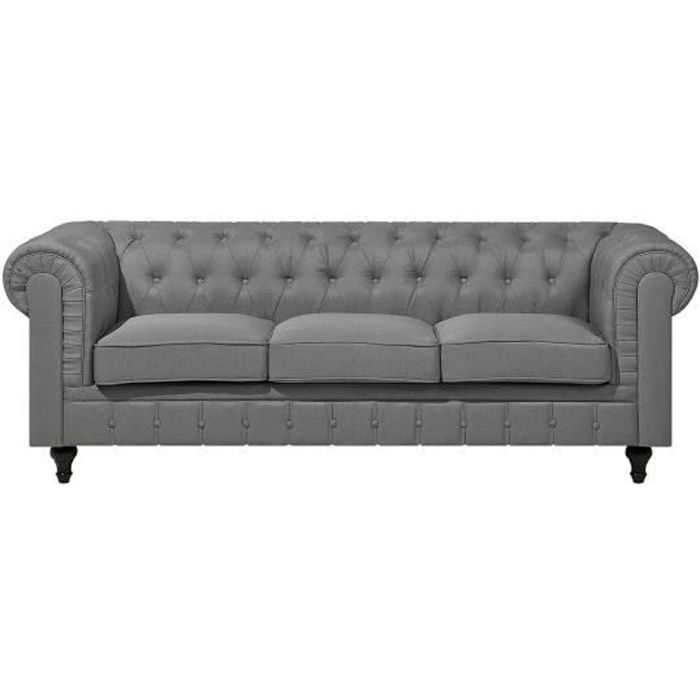 Canapé 3 places en tissu gris clair CHESTERFIELD BIG - Achat   Vente ... d6613aafa8ed