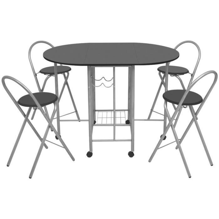 TABLE À MANGER COMPLÈTE ensemble de salle à manger pliable en MDF, au desi