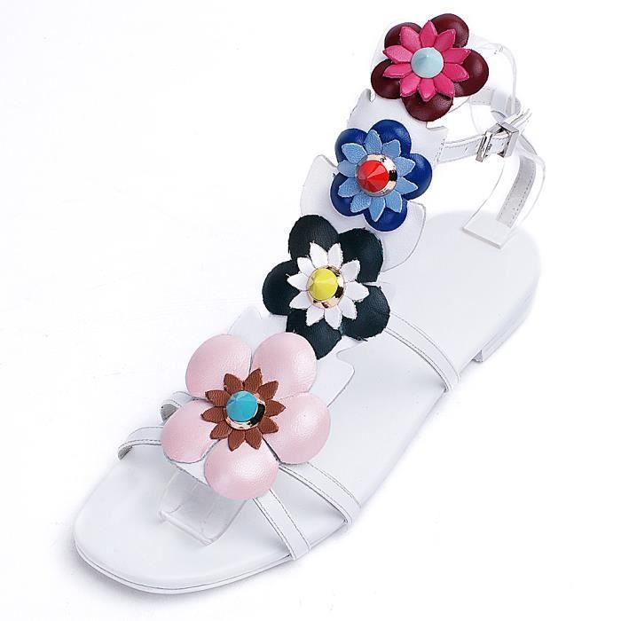 Nouveau Sandales chaussures plates Femme Chaussure-fleur.