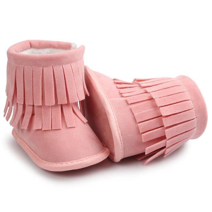 Gardez les Tassels chauds à double pont Bottes souples de neige Chaussettes douces Chaussures Bottes enfantines rose
