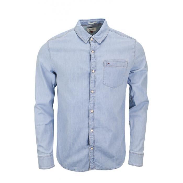 65054280d42f Chemise en jean Tommy Hilfiger bleue pour homme - Taille  M - Couleur  Bleu