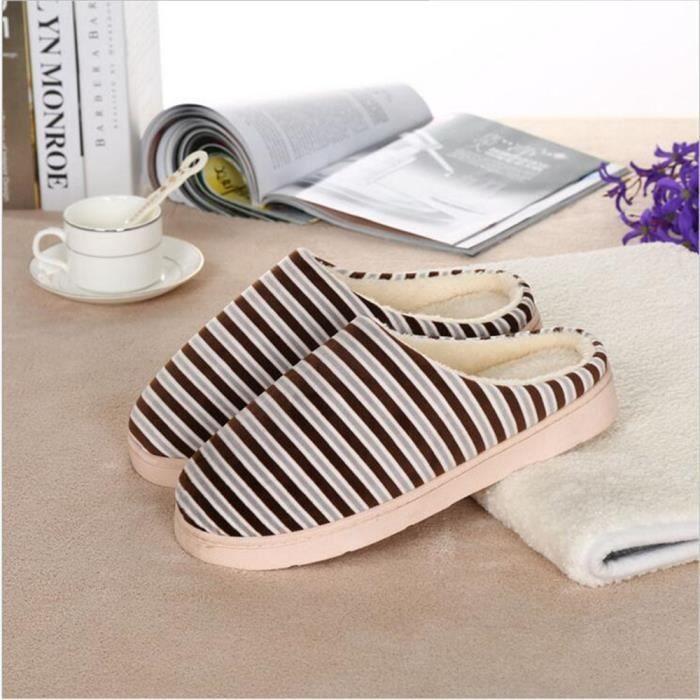 Rayures Chausson Haut qualité Doux Hiver Chaussons Garde Au Chaud Coton Chaussure Simple Plus De Cachemire Couleur Beau Marron 44 BKyxd31