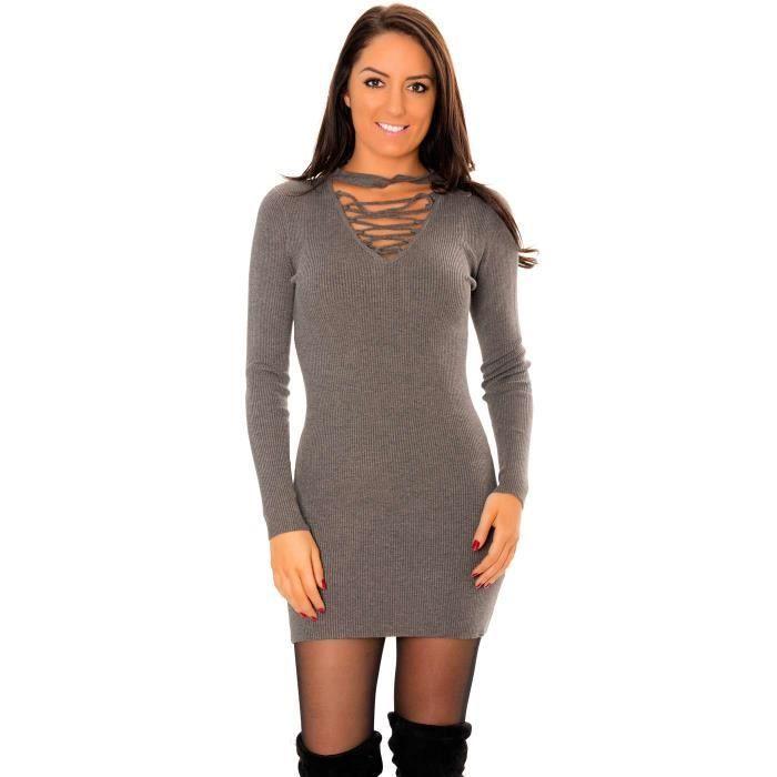 Miss Wear Line - Tunique pull anthracite avec attache au cou et col à lacets croisés