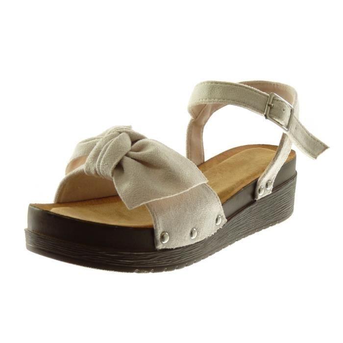 Angkorly - Chaussure Mode Sandale Mule plateforme lanière cheville femme noeud clouté bois Talon compensé plateforme 4.5 CM - Beige