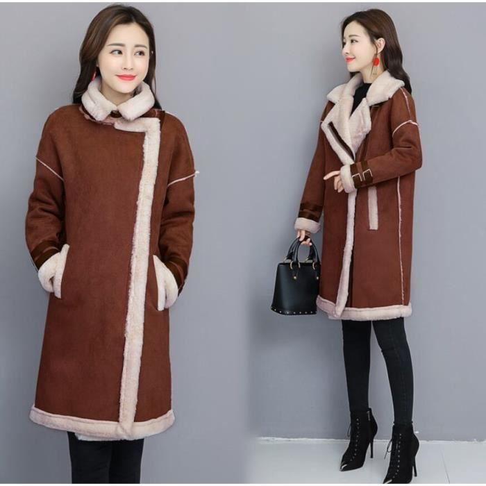 a8ff8e6447b Manteau en peau de daim Femme Vintage Style Plus Velours Épaissir ...
