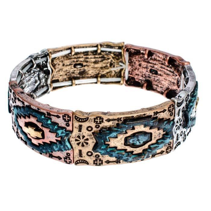 Womens Tri-tone Aztec Pattern With Patina Finish Stretch Bracelet K4SMG