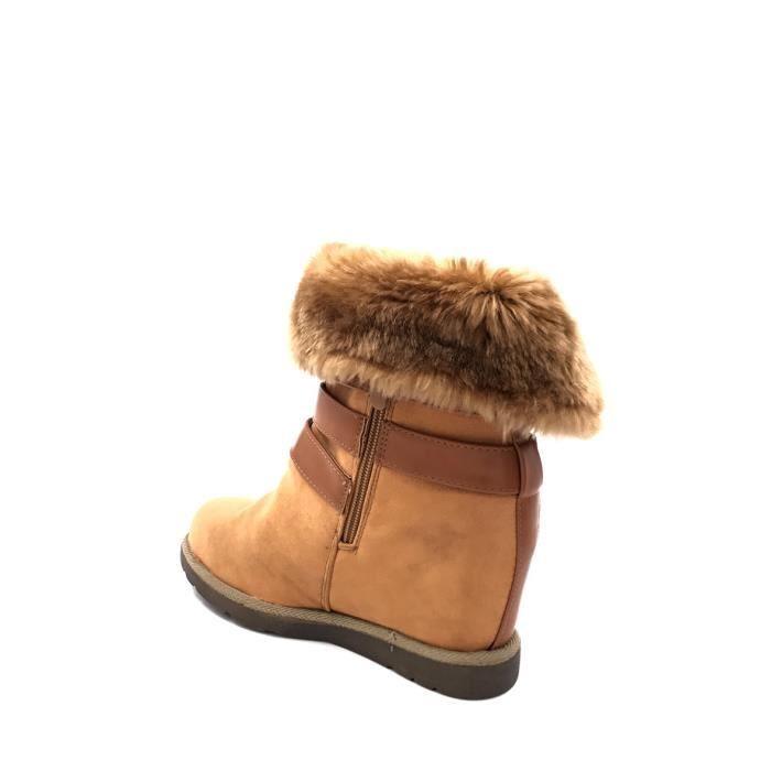 CHIC NANA . Chaussure femme botte compensée en effet daim, fourrure synthétique tour de cheville.