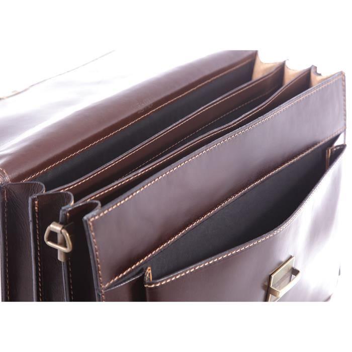 CHICCA BORSE Sac de travail, dossier, porte documents pour Homme en cuir made in Italy brun foncé 41x31x18 cm-7009-marronescuro