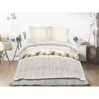 Couette Imprimee 220x240 Siesta Taupe Blanc Achat Vente Couette