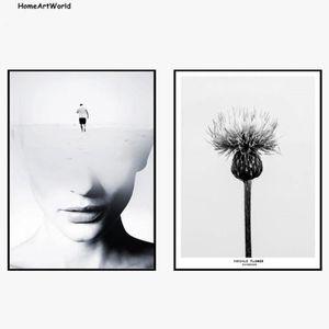 OBJET DÉCORATION MURALE Nordic moderne noir et blanc abstrait Figure Impre