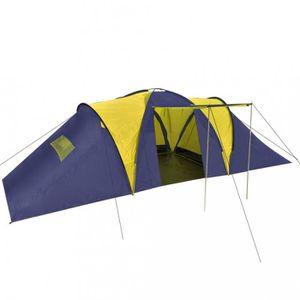 TENTE DE CAMPING Tentes Tente dome familiale 9 places bleue et jaun