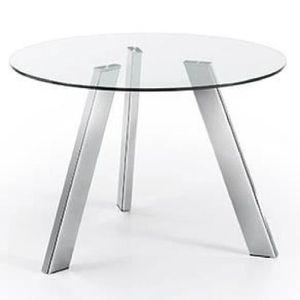 TABLE À MANGER SEULE Table Carib 110 cm, argent et verre 1b1428671825