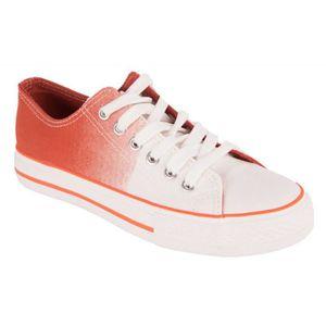 BASKET Basket femme en toile orange dégradé blanc forme t