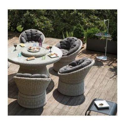 Kettler - Salon de jardin Barcelona en résine tressée Blanc / Sable ...