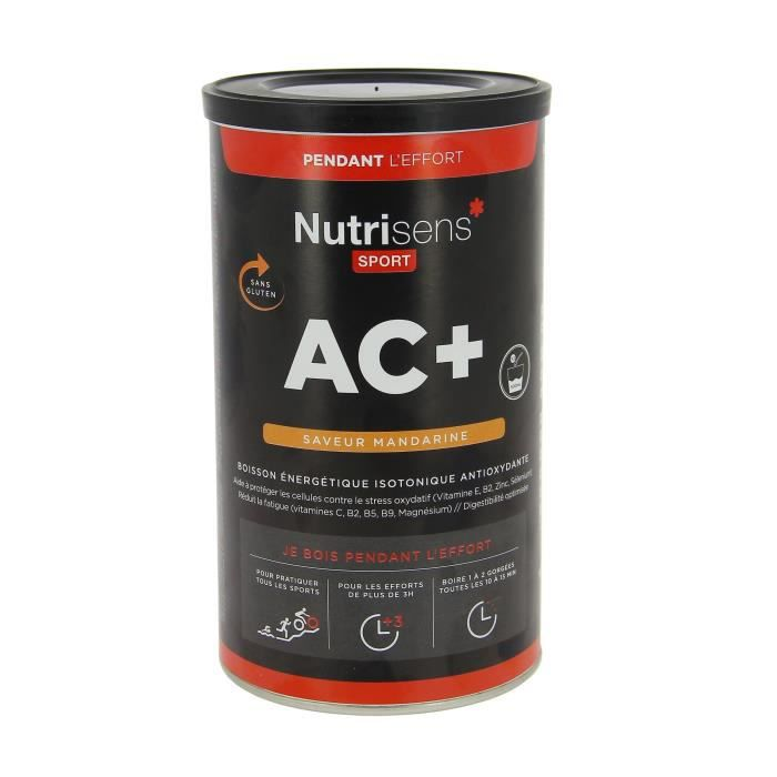 NUTRISENS Complément alimentaire - Pot de 500g pour préparation de boisson énergétique AC+ - Mandarine givrée