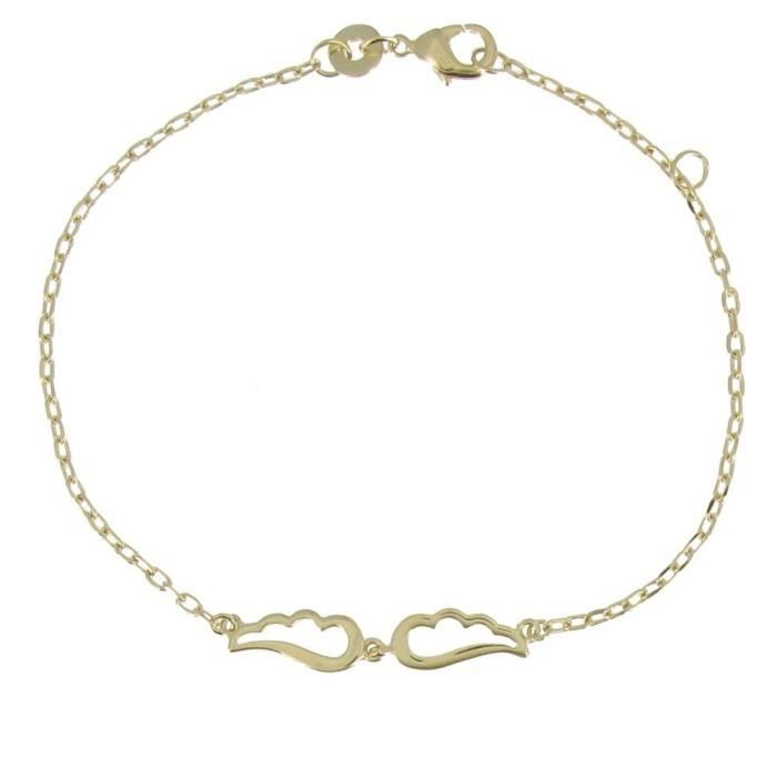 Womens Gold Plated Bracelet Two Small Angel Wings XVPIF