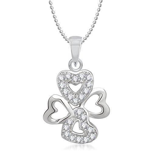 Cadeaux Saint-Valentin Pendentif Femme Pour Avec la chaîne en diamant américaine plaqué argent C ... L0W2W